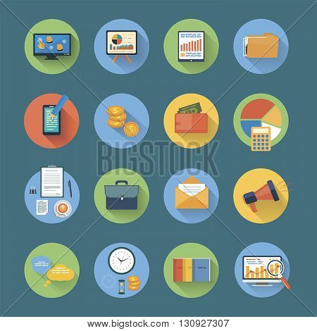 Vector illustration flat icons collection of business