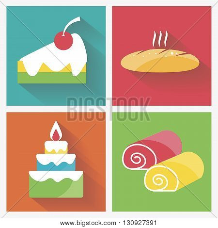 Vector illustration bright  colorfull set of sweets