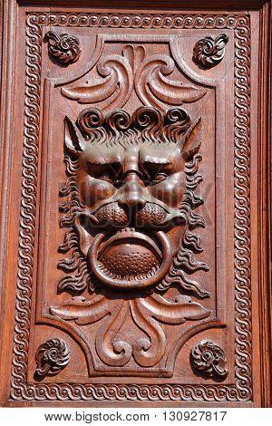 Detail of an old door in the city of Prague