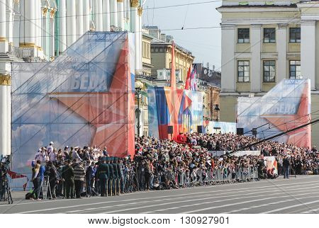 St. Petersburg, Russia - 9 May, Holiday Tribune Victory Parade at the Palace Square, 9 May, 2016. Festive military parade on the Palace Square in St. Petersburg.