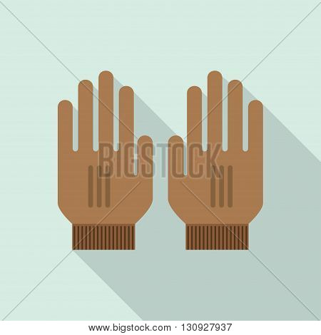 Mitten icon. Gloves icon. Pair of knitted christmas mittens. Winter mittens Knitted warm mittens. Pair of gloves. Mittens gloves for cold weathe. Vector illustration.