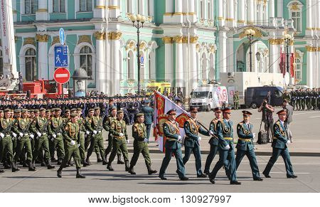 St. Petersburg, Russia - 9 May, A group of officers-bearers at the parade, 9 May, 2016. Festive military parade on the Palace Square in St. Petersburg.