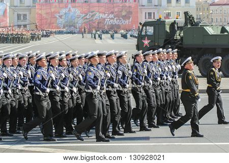 St. Petersburg, Russia - 9 May, Division sailors on parade, 9 May, 2016. Festive military parade on the Palace Square in St. Petersburg.