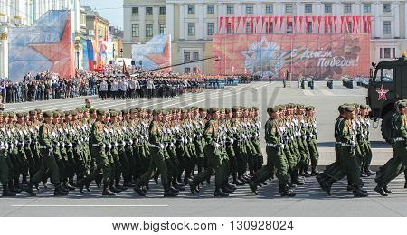 St. Petersburg, Russia - 9 May, Slender ranks of soldiers on parade, 9 May, 2016. Festive military parade on the Palace Square in St. Petersburg.
