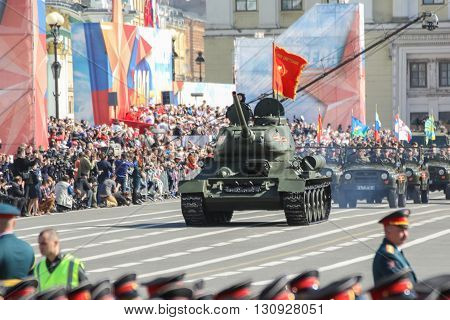 St. Petersburg, Russia - 9 May, The legendary T-34 tank in the parade of the Victory, 9 May, 2016. Festive military parade on the Palace Square in St. Petersburg.