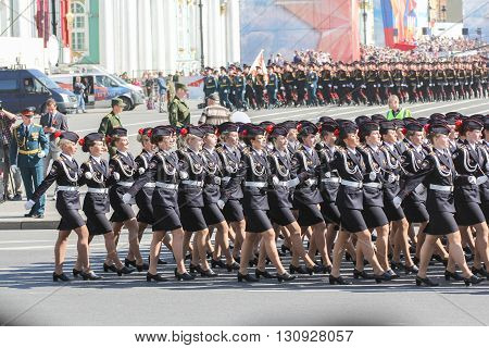 St. Petersburg, Russia - 9 May, Division Military Women on the march, 9 May, 2016. Festive military parade on the Palace Square in St. Petersburg.