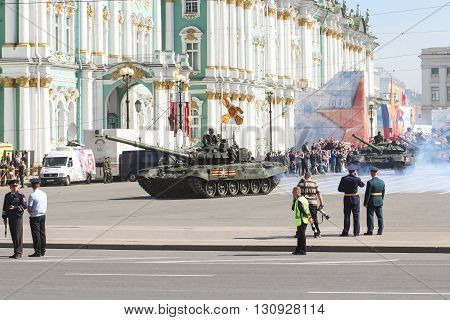 St. Petersburg, Russia - 9 May, Armored troops at the Victory parade,  9 May, 2016. Festive military parade on the Palace Square in St. Petersburg.