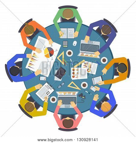 Corporate teamwork people seminar conference team collaboration concept. Teamwork people business unity togetherness vector and teamwork people communication. Success diversity teamwork people.