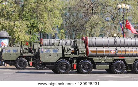 St. Petersburg, Russia - 9 May, Strategic missile systems in Victory celebration, 9 May, 2016. Festive military parade on the Palace Square in St. Petersburg.
