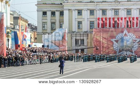 St. Petersburg, Russia - 9 May, Military band on Victory parade, 9 May, 2016. Festive military parade on the Palace Square in St. Petersburg.