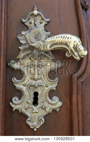 Detail of an old and ancient door in Prague