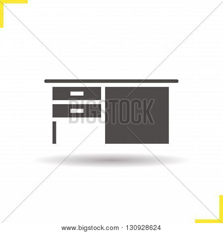 Desk icon. Drop shadow writing desk silhouette symbol. Writing desk with drawers. Wooden writing desk. Office and house furniture. Desk logo concept. Isolated vector illustration