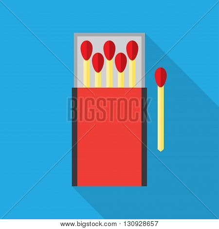 matchbox and matches vector illustration. Flat icon isolated with long shadow.