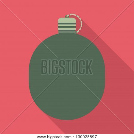 Military flask drink bottle container. Army water canteen icon with case and military flask. Vector illustration.