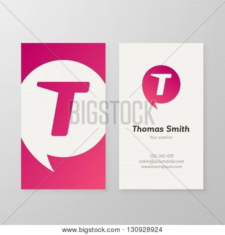 Modern letter T in speech bubble Business card template. Vector business personal card design. Layered editable.
