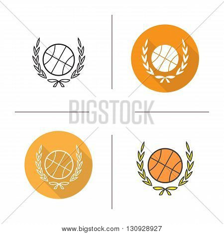 Basketball ball flat design, linear and color icons set. Basketball competition emblem. Contour and long shadow symbols. Basketball ball with laurel wreath logo concepts. Isolated vector illustrations