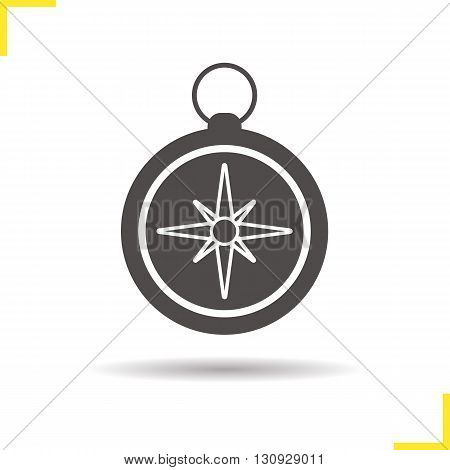 Compass icon. Isolated compass illustration. Drop shadow pocket compass icon. Navigation and orientation instrument. Compass logo concept. Vector pocket compass. Silhouette compass symbol