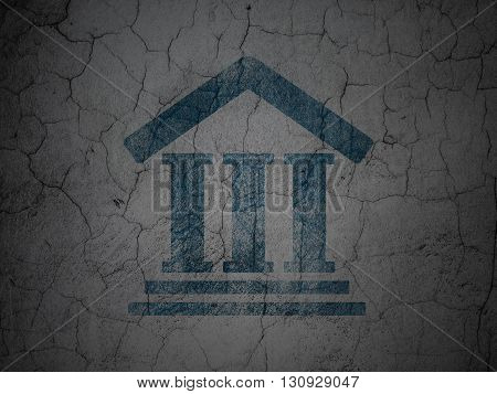 Law concept: Blue Courthouse on grunge textured concrete wall background