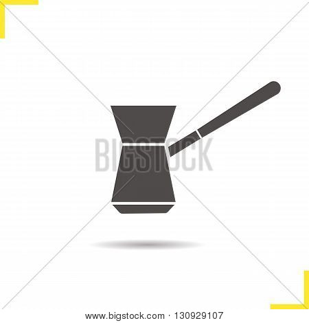 Turkish cezve icon. Isolated cezve illustration. Drop shadow coffee maker icon. Classic vintage coffee maker. Turkish cezve logo concept. Vector coffee maker. Silhouette cezve symbol
