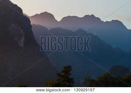 sunset Mountain View in Vang Vieng Laos