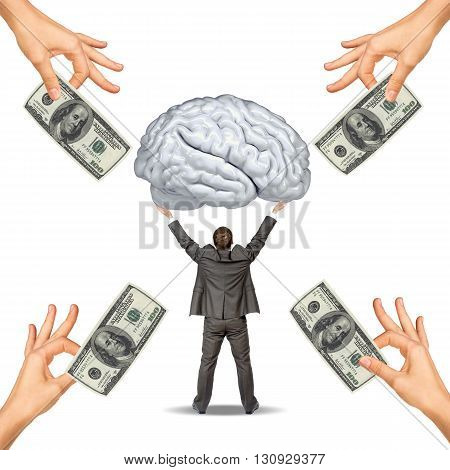 Businessman holding big brain and hand offering money isolated on white background