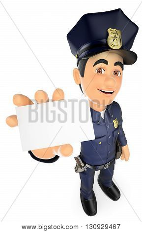 3d security forces people illustration. 3D Policeman with a blank card. Isolated white background.