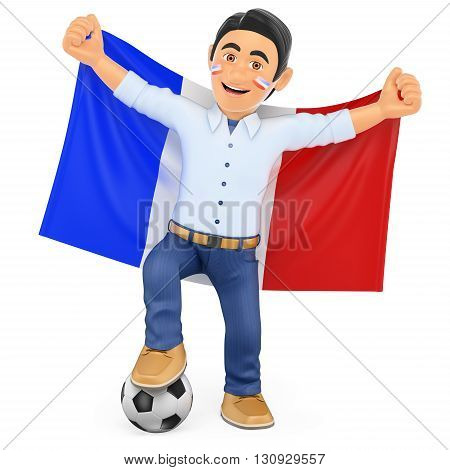 3d sport people illustration. Football fan with the flag of France. Isolated white background.