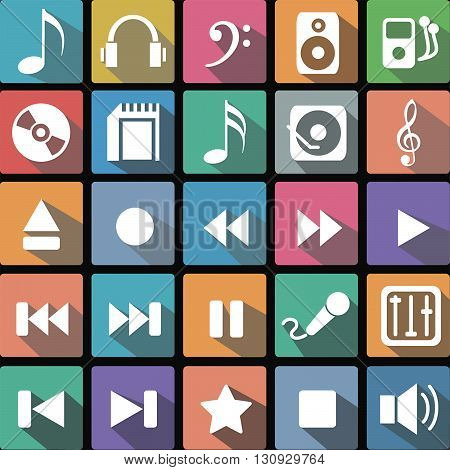 Vector illustration of a set of flat icons of music