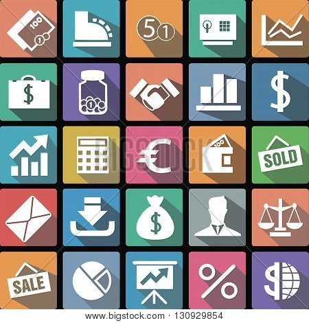 Vector illustration flat icons collection of business icons