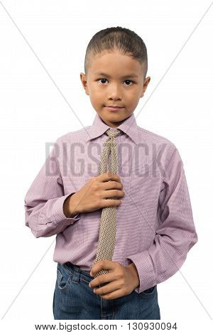 Young Asian boy in business suit and tie