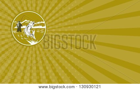 Business card showing illustration of a fly fisherman fishing casting rod and reel reeling trout fish viewed from front with mountains set inside circle done in retro style