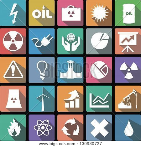 Vector illustration flat icons collection of energy