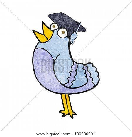 freehand textured cartoon bird wearing graduation cap