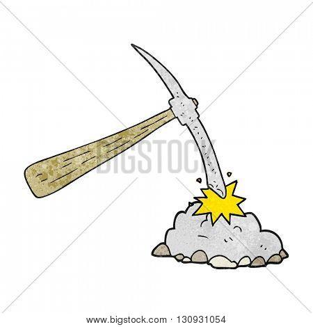 freehand textured cartoon pick axe