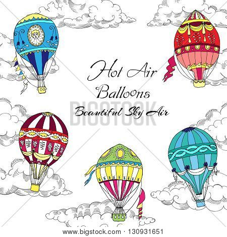 Background with Colored Hot Air Balloons. Hand drawn sketches vector illustration
