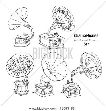 Background with  gramophone.Hand drawn sketches  old record player. Vector  music illustration