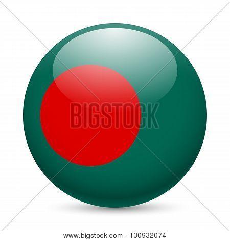 Flag of Bangladesh as round glossy icon. Button with Bangladeshi flag
