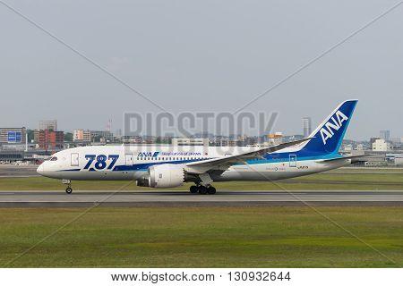 OSAKA, JAPAN - MAY 1 2016: Boeing 787-8 taxing at the Itami International Airport in Osaka, Japan.