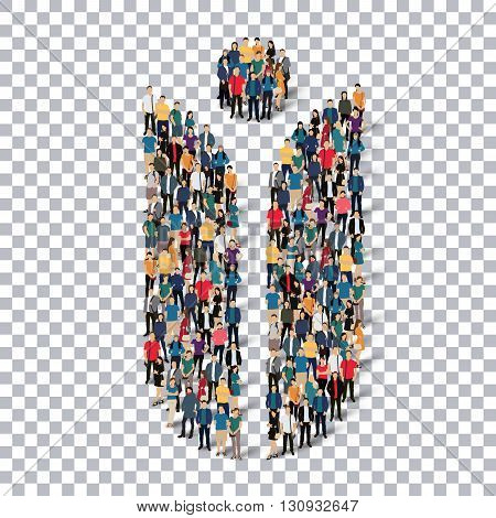 Isometric set of styles abstract business symbol web infographics concept illustration of a crowded square, flat 3d. Crowd point group forming a predetermined shape. Creative people.Transparency grid. D illustration.