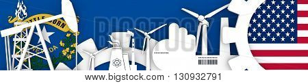 Energy and Power icons set. Header banner with Nevada and USA flags. Sustainable energy generation and heavy industry. 3D rendering