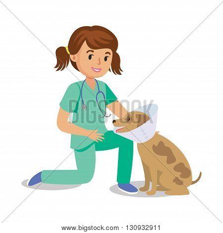 Girl holding dog. Vet girl pet doctor. Cute cartoon girl with dog. Cartoon veterinarian healing dog. Vector illustration