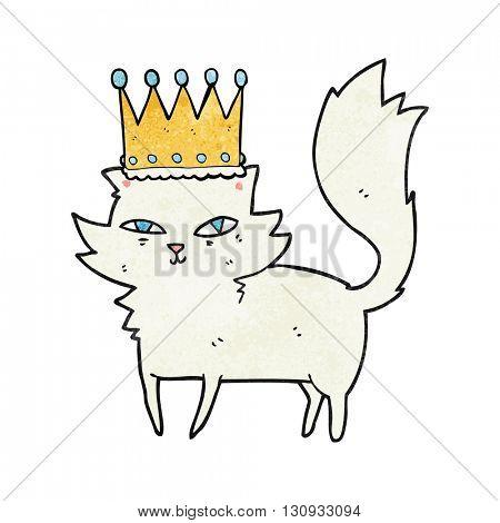 freehand textured cartoon posh cat