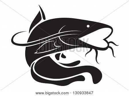 clip art black catfish on white background