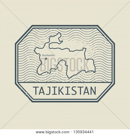 Stamp with the name and map of Tajikistan, vector illustration