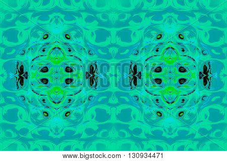 Abstract geometric seamless background. Gradient ellipses pattern in mint green, turquoise and blue gray with black, bright green and light blue elements, ornate and modern.