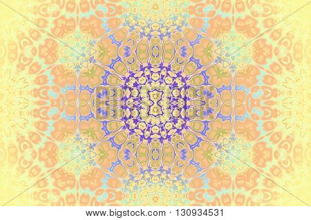 Abstract geometric seamless background. Ornate ornaments, ellipses pattern in yellow, peach color, orange and pale green shades with light blue and purple elements.