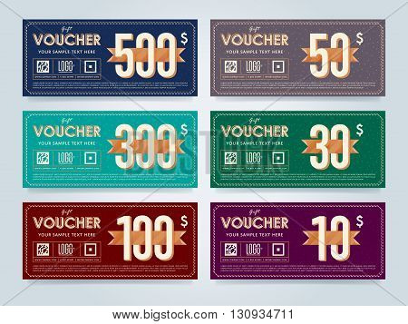Vector voucher template. Voucher design. Discount coupon. Special offer voucher. Layout voucher. Market offer. Voucher background. Gift card design. Gift voucher template set. Discount voucher set. Gift certificate. Two side of gift voucher. Gift coupon t