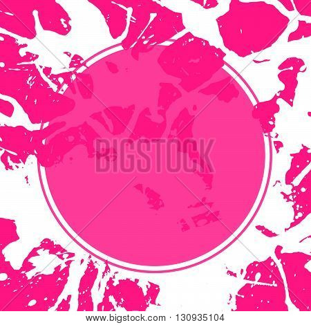 Template with semi-transparent pink circle over bright colorful artistic paint splashes ready for your text.