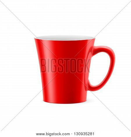 Red cup with tapered bottom stay on white background