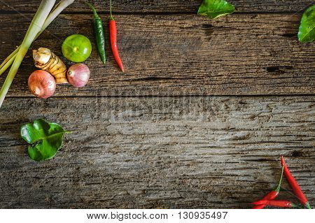 spices with ingredients . asian food healthy or cooking conceptThaifood